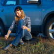Young Blond Woman With Her Broken Car — Stock Photo #4972008