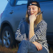 Young Blond Woman With Her Broken Car — Stock Photo #4973220