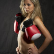 Girl with boxing gloves — Stock Photo #4978294