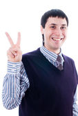 Man with victory sign — Stock Photo