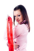 Woman with red tape — Stock Photo