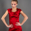 Sexy slim woman in red dress — Stock Photo #5012367