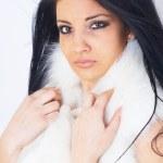 Girl wearing white fur — Stock Photo