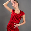Sexy slim woman in red dress — Stock Photo #5022723