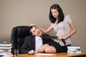 Boss and him secretary — Stock Photo