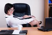 Portrait of businesswoman with organizer — Stock Photo