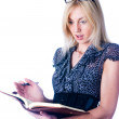 Woman with daily log — Stock Photo