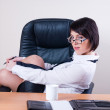 Portrait of businesswoman with organizer - Stock Photo