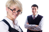 Businesswoman with team — Stock Photo