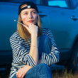 Young Blond Woman With Her Broken Car — Stock Photo #5171177