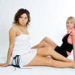 Stock Photo: Two beautiful women posing together