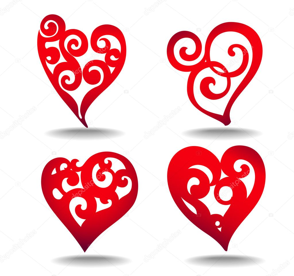 Set of stylized hearts, vector illustration — Stock Vector #4745073