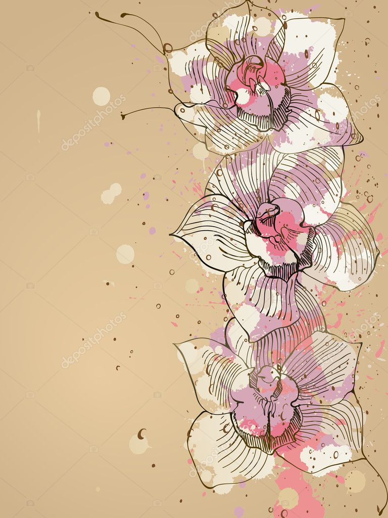 Orchid with ink splashes,  vector illustration — Stock Vector #4933817