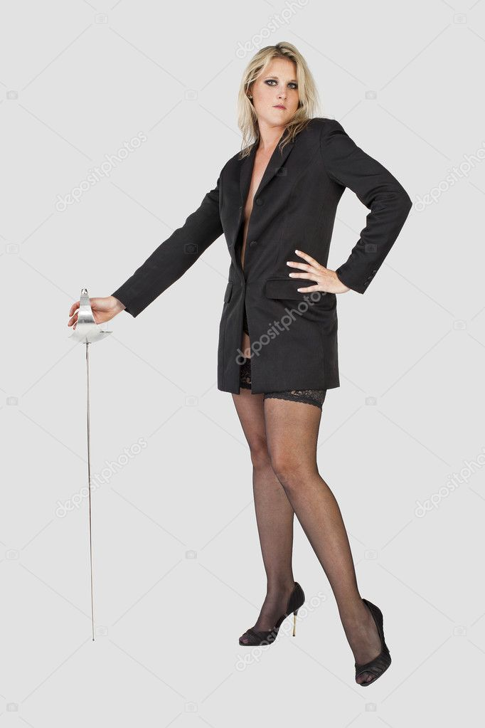 Business woman holding a sword  Stock Photo #3964507