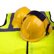 Stock Photo: Safety helmets and hi-vis jacket