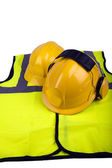 Safety helmets and hi-vis jacket — Stock Photo