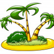 Island with three palms — Stock Vector