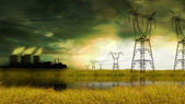Energy factory in yellow field — Stock Photo