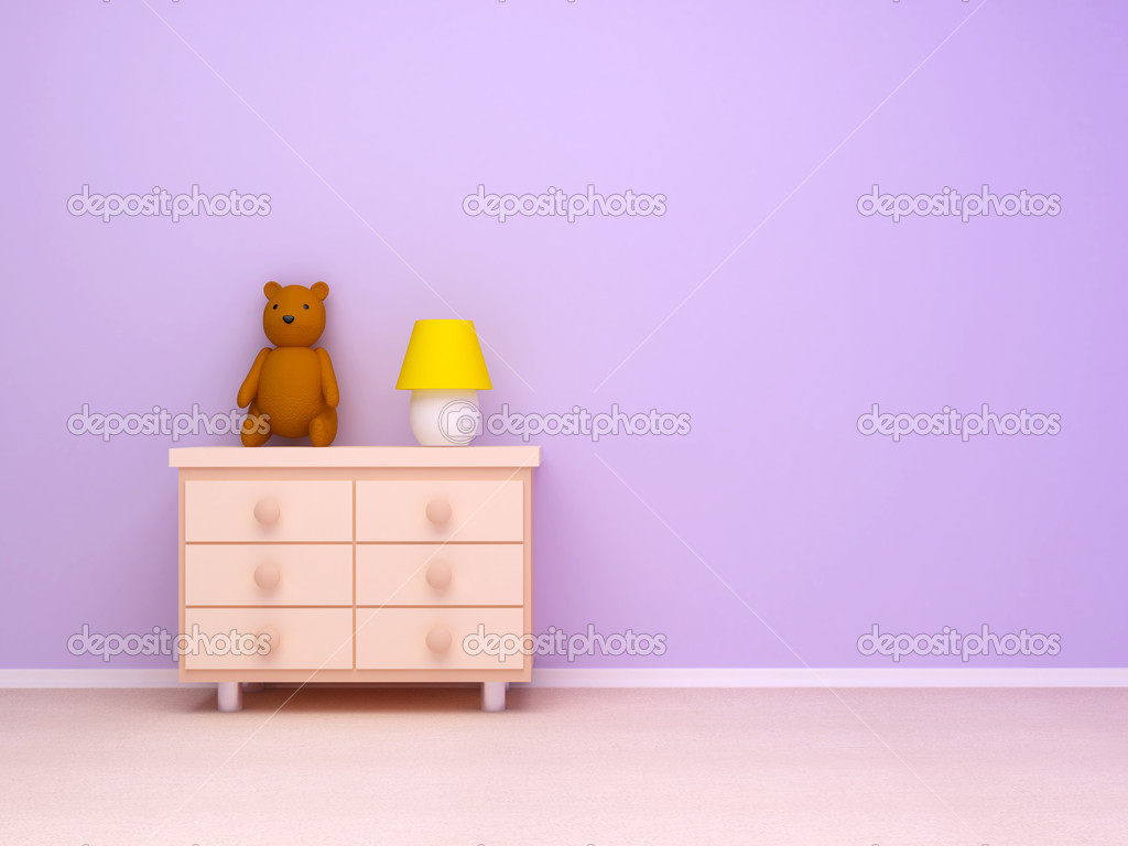 Nightstand with lamp and teddy bear. Pastel colors, empty room  Foto Stock #4524592