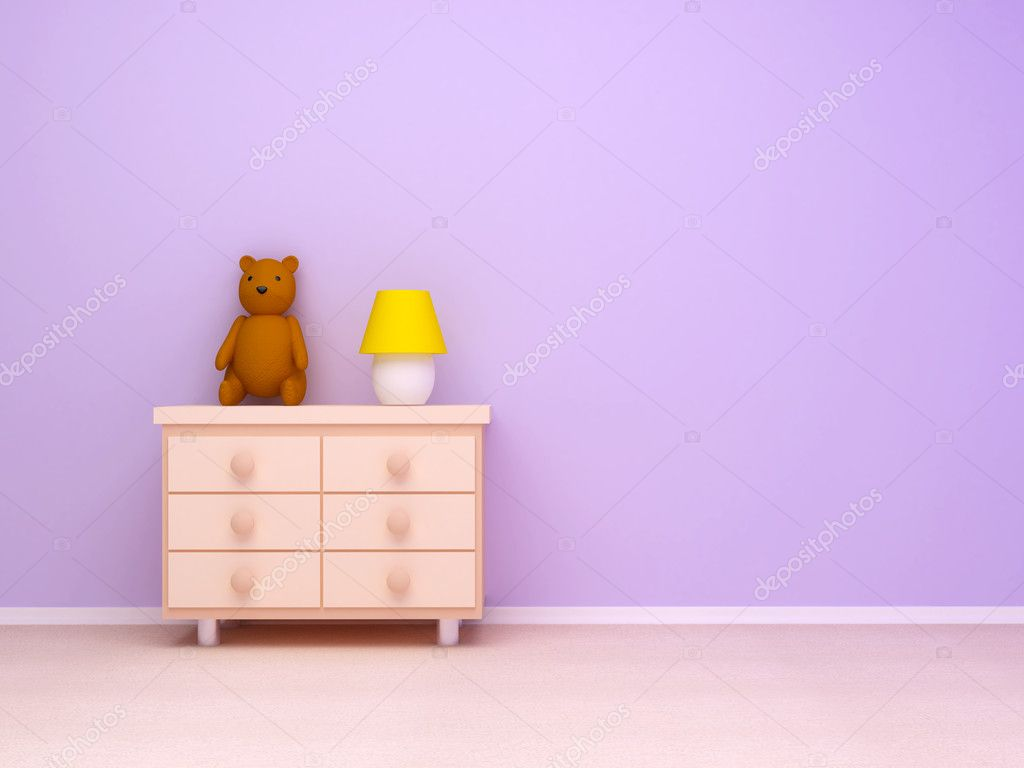Nightstand with lamp and teddy bear. Pastel colors, empty room    #4524592