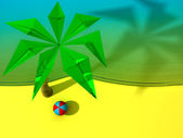 Beach with the palm and the ball — Stock Photo
