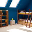 Child room on attic - Stock Photo