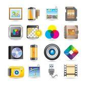 Ikony fotografií — Stock vektor