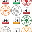 Set of stamps and calendars - Stock Vector
