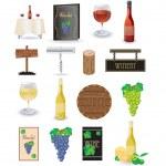 Wine icon set — Stock Vector