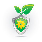 Shield with leaf icon — Stock Vector
