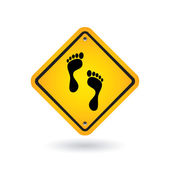 Yellow sign with foot — Stock Vector
