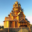 Construction of a new wooden church — Stock Photo