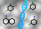 Dna strand and nucleotides — Stockfoto
