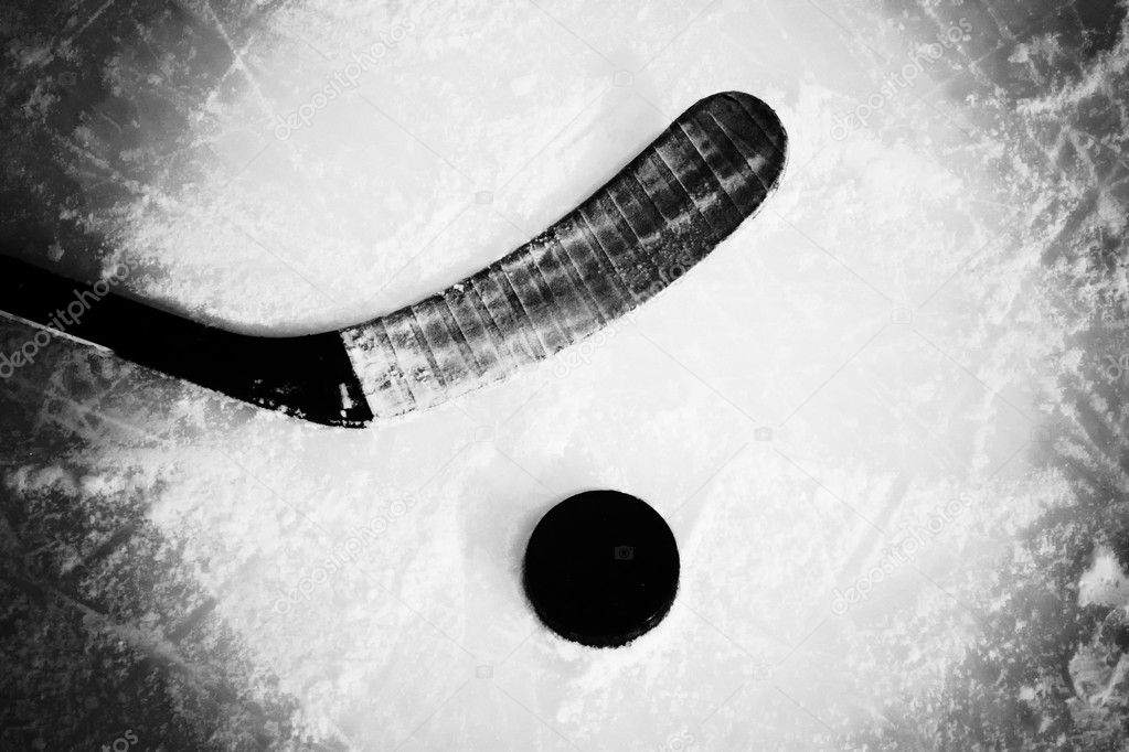 Hockey stick and puck  Stock fotografie #4602161