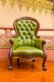 Green leather armchair — Stock Photo