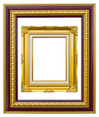Golden wood photo image frame isolated — Stock Photo