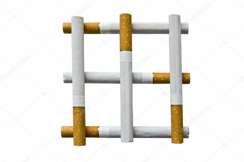 The Lattice from cigarettes on white background. — Stock Photo #3962674