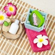 Spa washing set on bamboo mat - Stock Photo