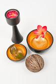 Wooden golden bowl — Stock Photo
