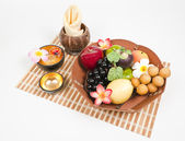 Tray of healthy fruits — Stockfoto