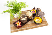 Small spa in the wooden tray — Stock Photo