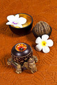 Thai traditional spa on brown paper background — Stock Photo