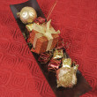 Stock Photo: Christmas decoration in wooden tray