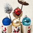 Stock Photo: Four Christmas balls with nelumbo lotus and pine cone