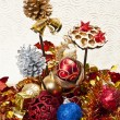 Stock Photo: Cone pine and Christmas ball