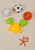Beach plastic toy and various ball — Stock Photo