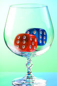 Dices in snifter — Stock Photo