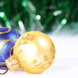 Stock Photo: Christmas gold and blue bolls