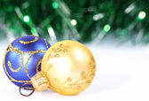 Christmas gold and blue bolls — Stock Photo