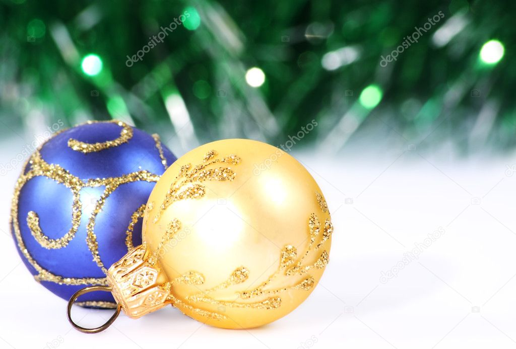 Christmas gold and blue bolls stock photo malvenok99 for Blue and gold christmas
